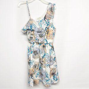 Monteau Floral One Shoulder Ruffle Dress M
